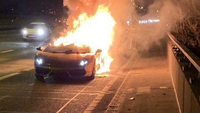 لمبرجيني جلاردو سبايدر محترقة في بريطانيا
